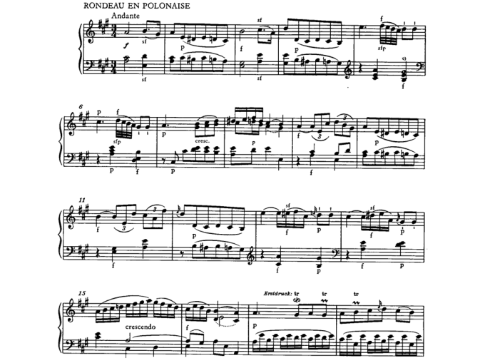 Ejemplo 1. Mozart. Polonesa, primer periodo. partitura.